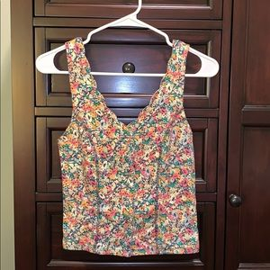 URBAN OUTFITTERS FLOWER BUTTON UP TANK TOP
